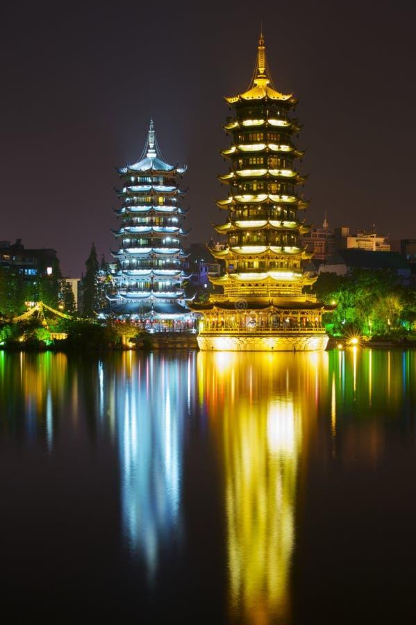 The Sun i księżyc pagody, Guilin zdjęcia royalty free