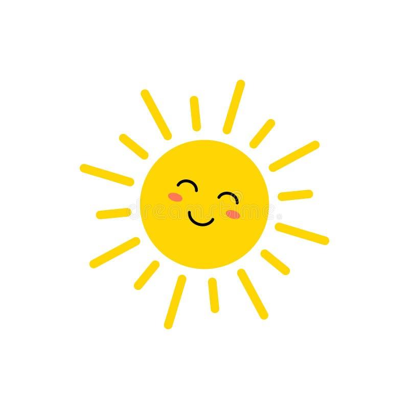 Sun - ic?ne de vecteur Le soleil jaune mignon avec le visage Emoji ?motic?ne d'?t? Illustration de vecteur illustration libre de droits