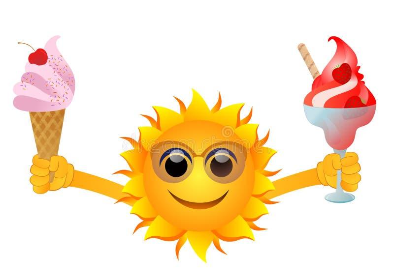 Sun with ice cream royalty free illustration