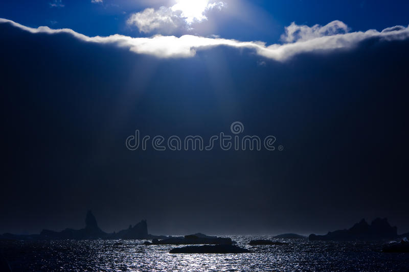 Sun and icebergs stock image