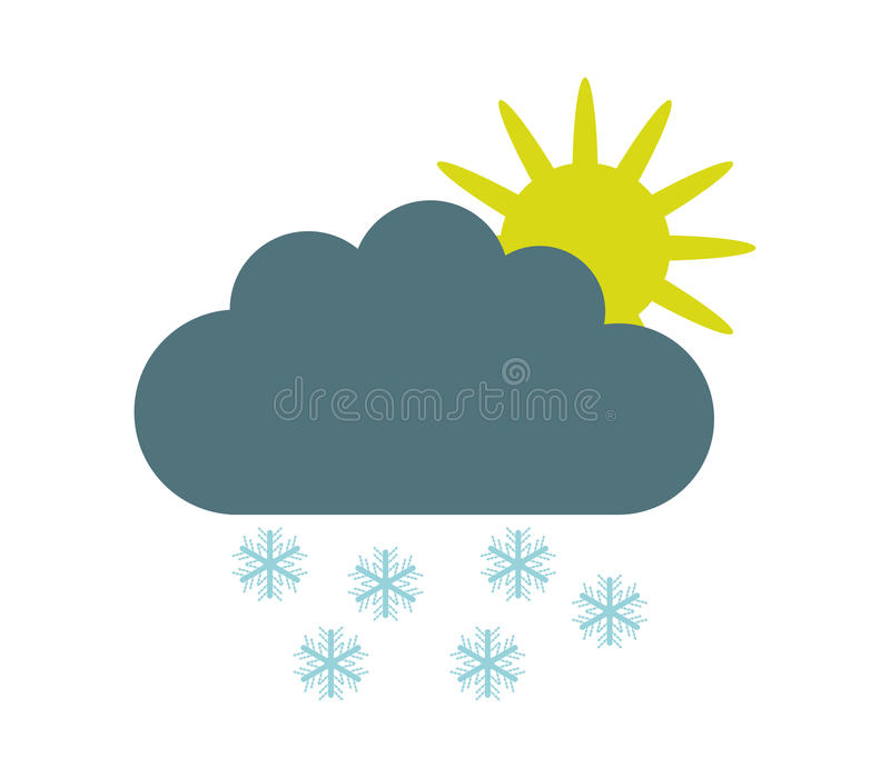Download Sun Icon With Clouds And Snow Stock Illustration - Image: 83724233