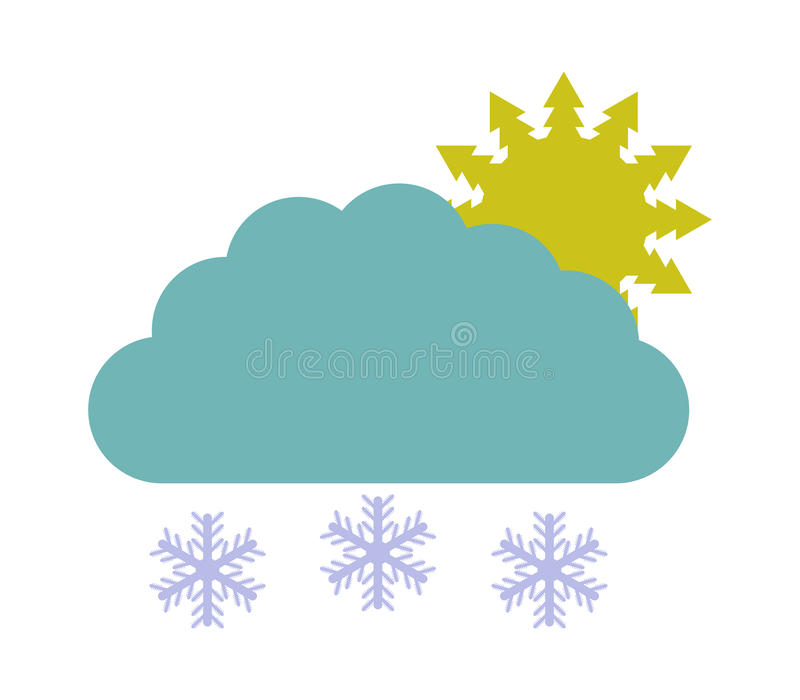 Download Sun Icon With Clouds And Snow Stock Illustration - Image: 83724258