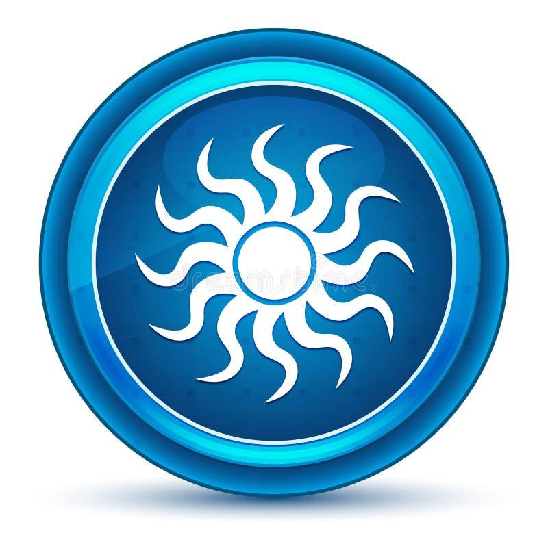 Sun icon eyeball blue round button vector illustration