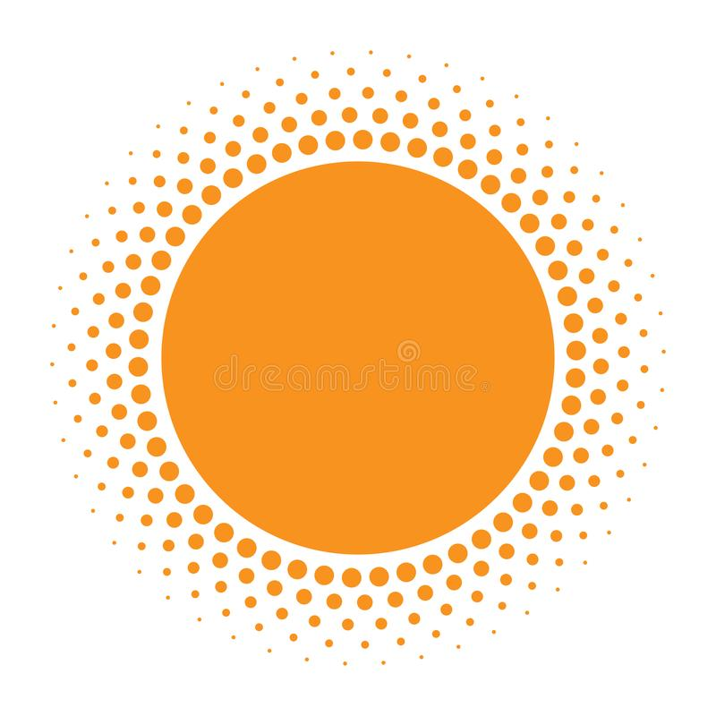 Sun icon. Halftone orange circle with gradient texture circles logo design element. Vector illustration. vector illustration