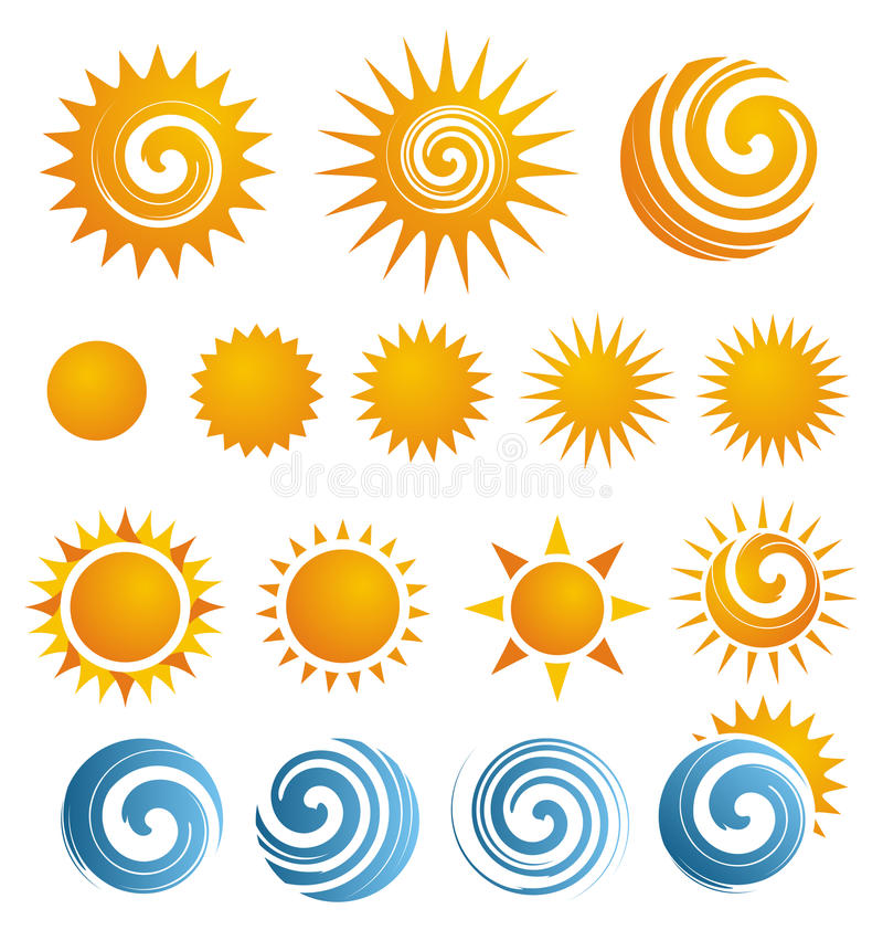 Sun icon set. Vector set of sun and sea icons, symbols and logos