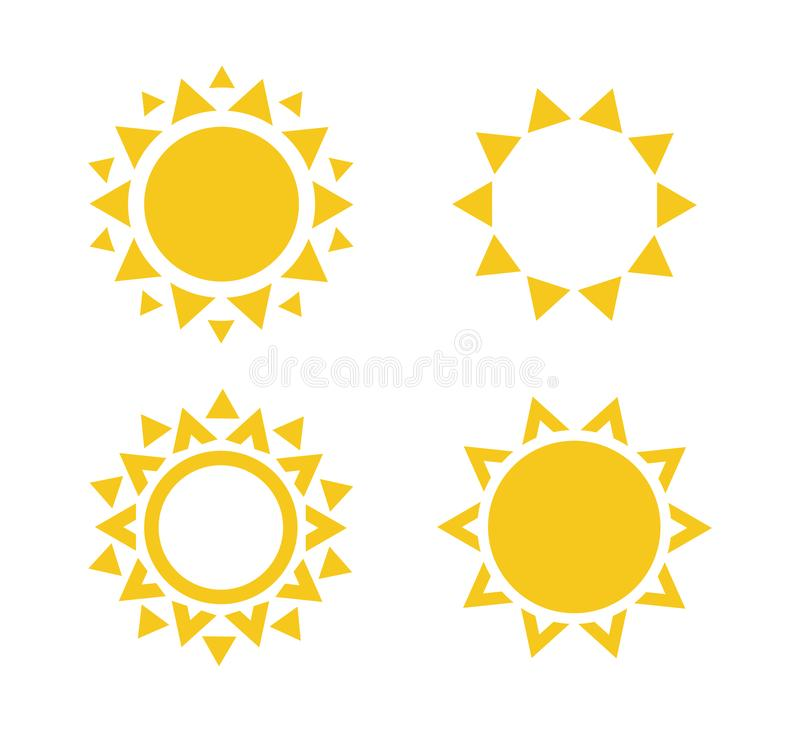 Sun icon set. Summer rest sign. Travel agency logo template. Sunny circle concept design. Isolated vector illustration. Collection on white background. EPS10 vector illustration