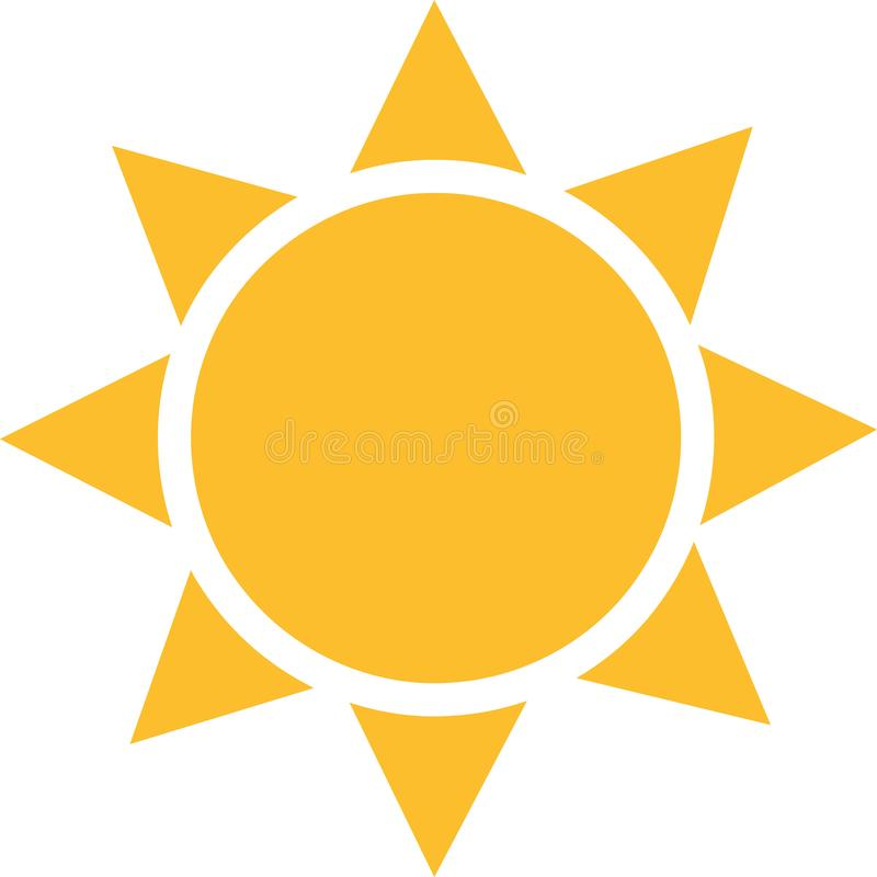 Sun icon with squared sunrays vector illustration