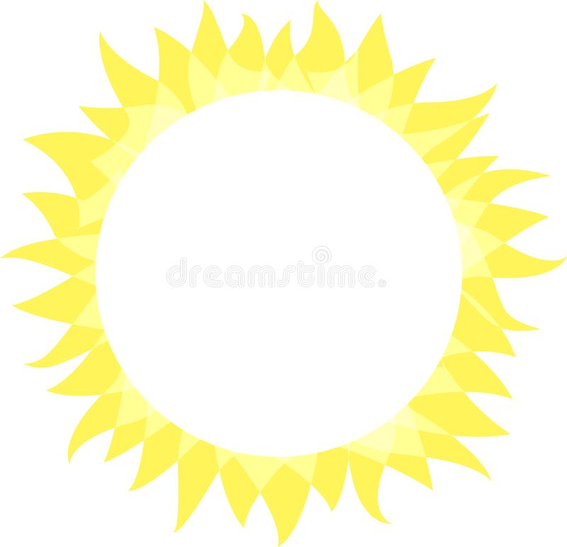 Sun icon. Sunny bright circle shape with rays. Summer sun shine brightly, flat simple logo template, concept design. Vector illustration on white background stock illustration