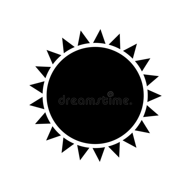 Sun icon vector isolated. Vector illustration on white background royalty free illustration