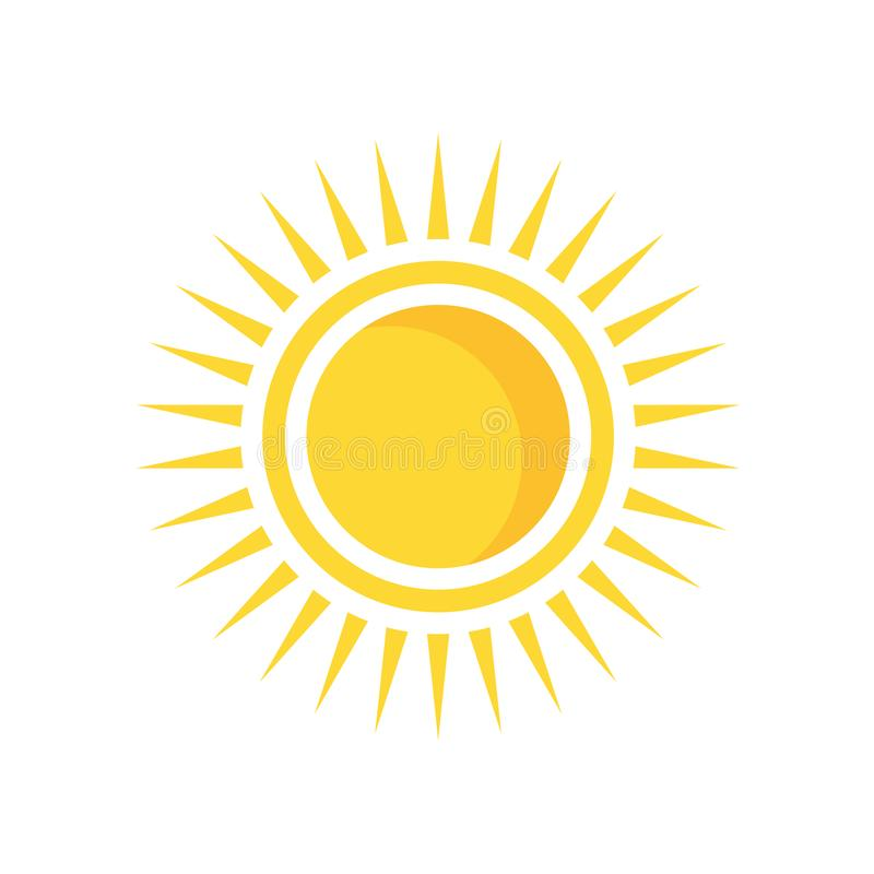 Sun icon vector sign and symbol isolated on white background, sun logo concept. Sun icon vector isolated on white background for your web and mobile app design vector illustration