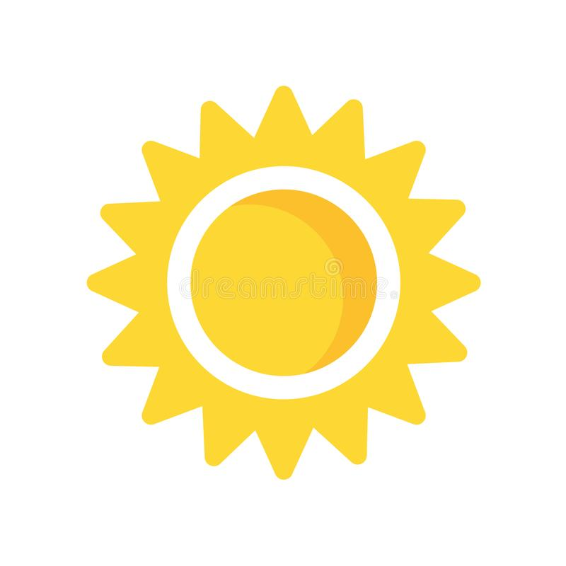 Sun icon vector sign and symbol isolated on white background, sun logo concept. Sun icon vector isolated on white background for your web and mobile app design vector illustration