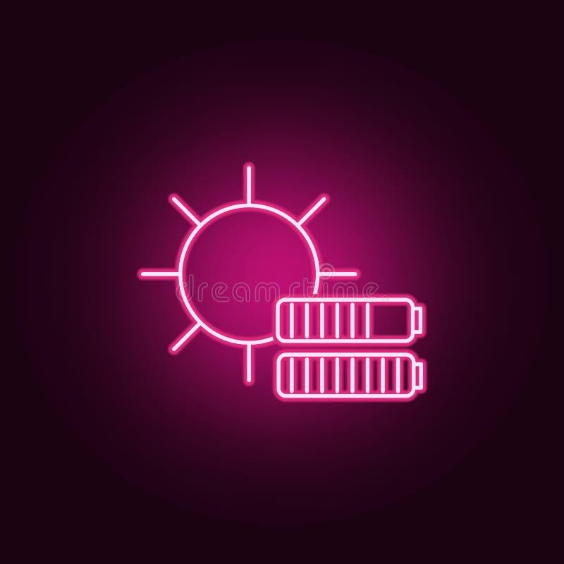 Sun, icona al neon di carico della batteria r E royalty illustrazione gratis