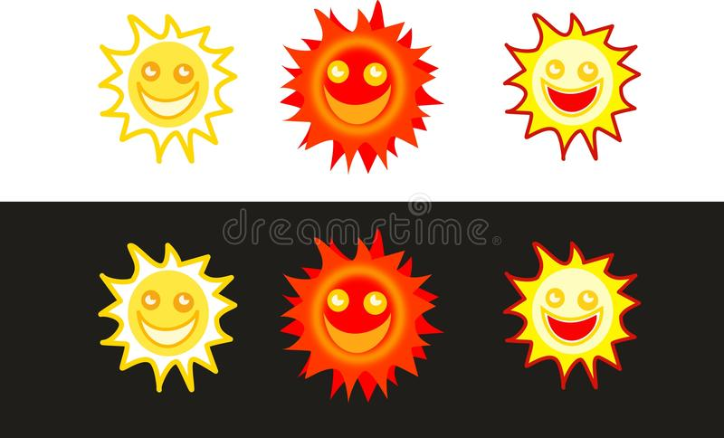 Download Sun icons stock illustration. Image of smile, cheerful - 12148416