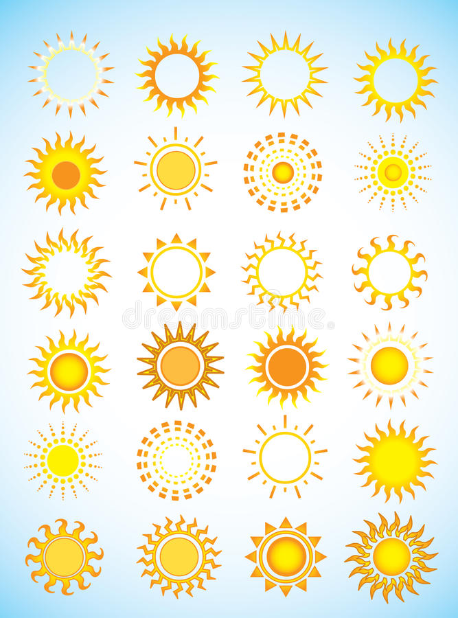 Free Sun Icons Royalty Free Stock Image - 16021876
