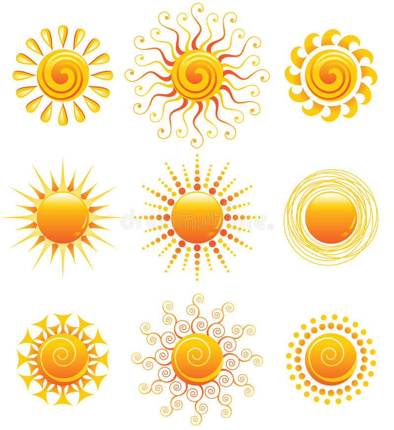 Download Sun icons stock vector. Image of sign, design, summer - 18007071