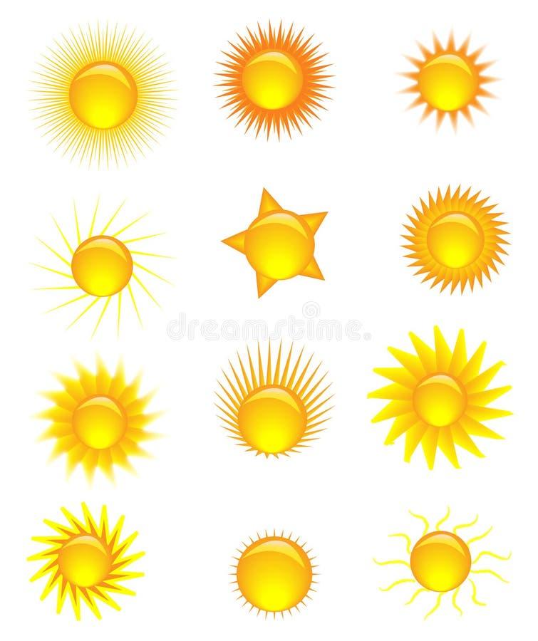 Sun icons royalty free illustration