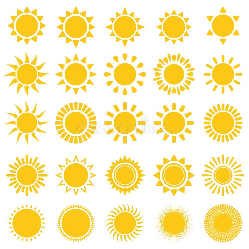 Free Sun Icons Royalty Free Stock Images - 57610079