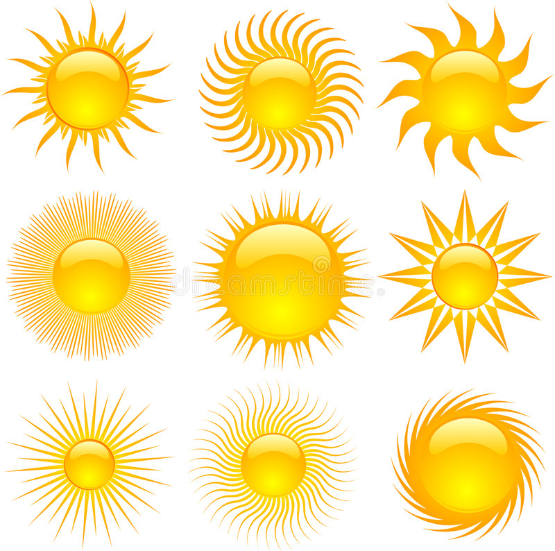 Sun icons royalty free illustration