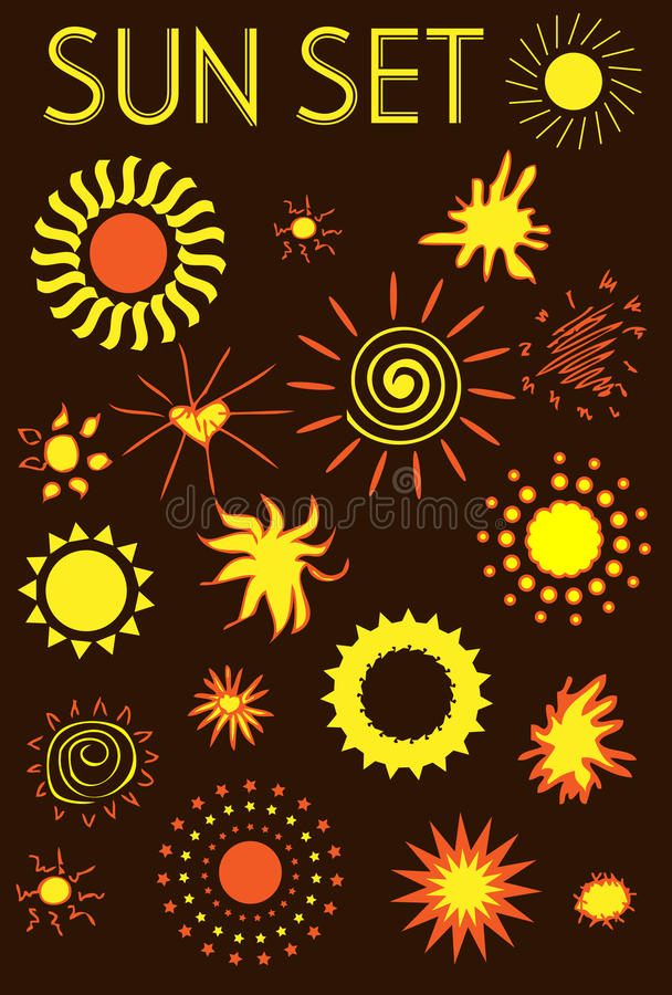 Sun Icons Set, Design Elements Royalty Free Stock Photography
