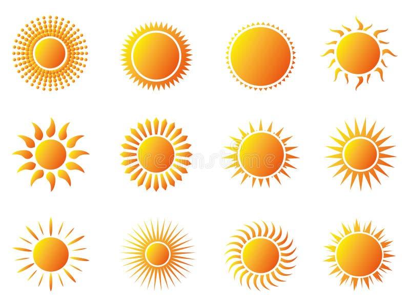 Sun icons set royalty free illustration