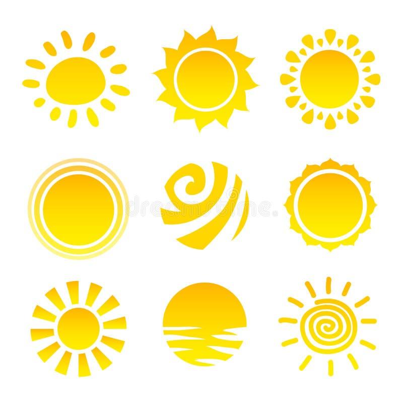 Sun Icons Set stock illustration