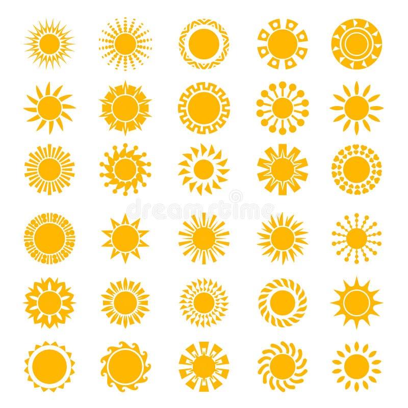 Sun icons. Sunrise creativity sunny circle shapes logo sunset stylized symbols vector collection vector illustration