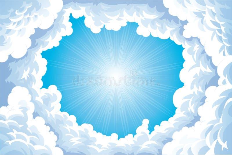 Sun im Himmel mit Wolken. lizenzfreie abbildung