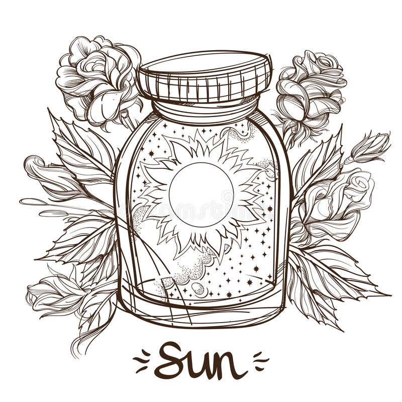 Free Sun In A Glass Jar. The Planet Of The Solar System In A Glass Bowl On A Stand. Illustration For Design On The Astrology Royalty Free Stock Photos - 129660198