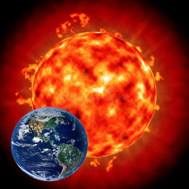 Sun: the influence on the Earth. Sun behind the Earth. Sun: the influence on the Earth royalty free illustration
