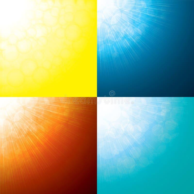 Sun irradia fundos abstratos ilustração stock