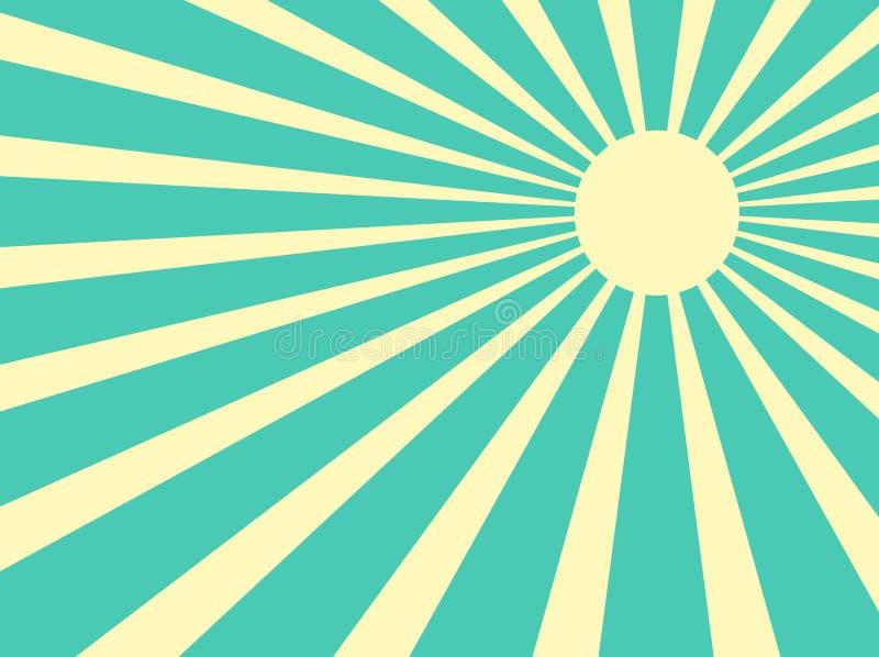 Sun irradia o vetor retro ilustração royalty free
