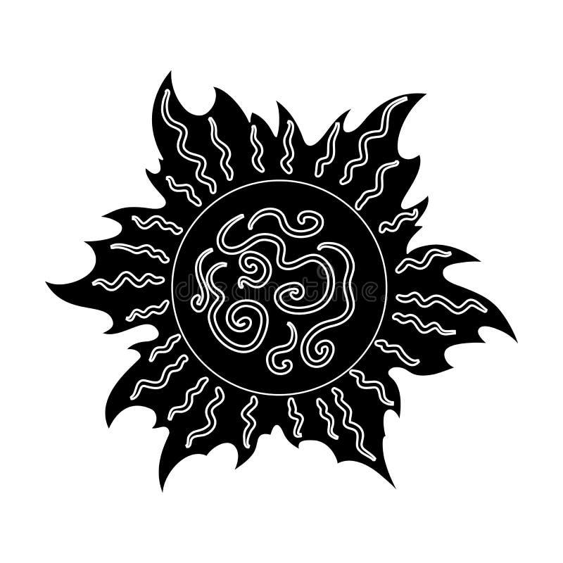 The Sun jest jaskrawy Lato odpoczynek przerzedże ikonę w czerń stylu symbolu zapasu wektorowej ilustraci ilustracja wektor
