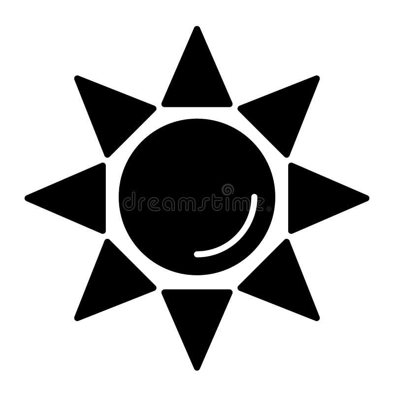 Sun-Körperikone Glänzende Sonnenvektorillustration lokalisiert auf Weiß Sonnenstrahlen Glyph-Artdesign, bestimmt für Netz und APP stock abbildung