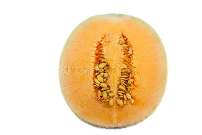 Sun lady cantaloupe melon. Close up of sun lady cantaloupe melon on white background royalty free stock photos