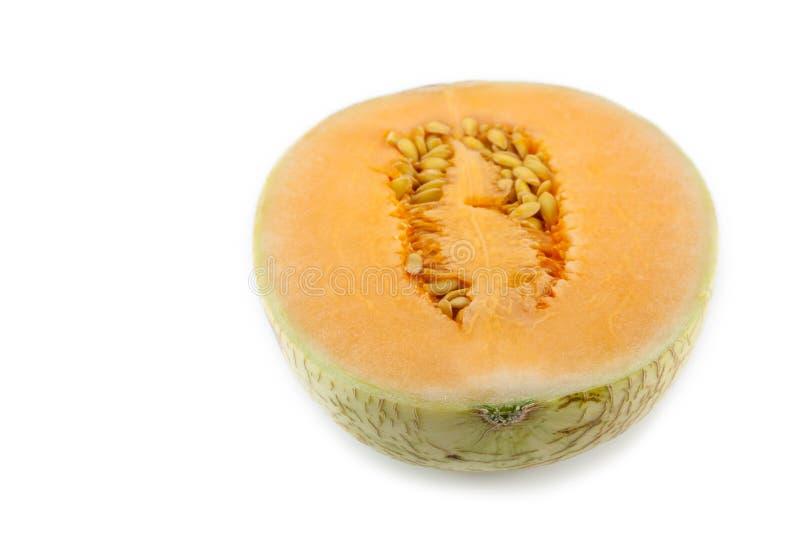 Sun lady cantaloupe melon. Close up of sun lady cantaloupe melon on white background royalty free stock photo