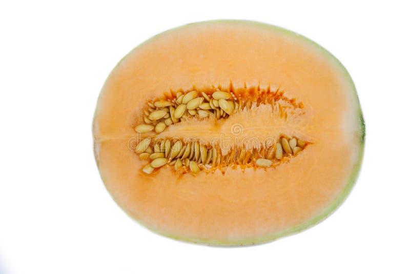 Sun lady cantaloupe melon. Close up of sun lady cantaloupe melon on white background royalty free stock images