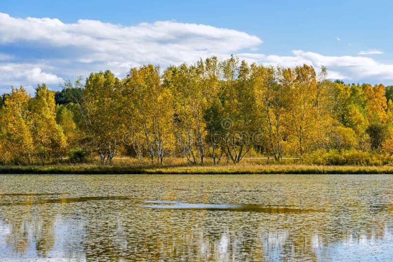 The Sun Lake autumn scenery stock photo