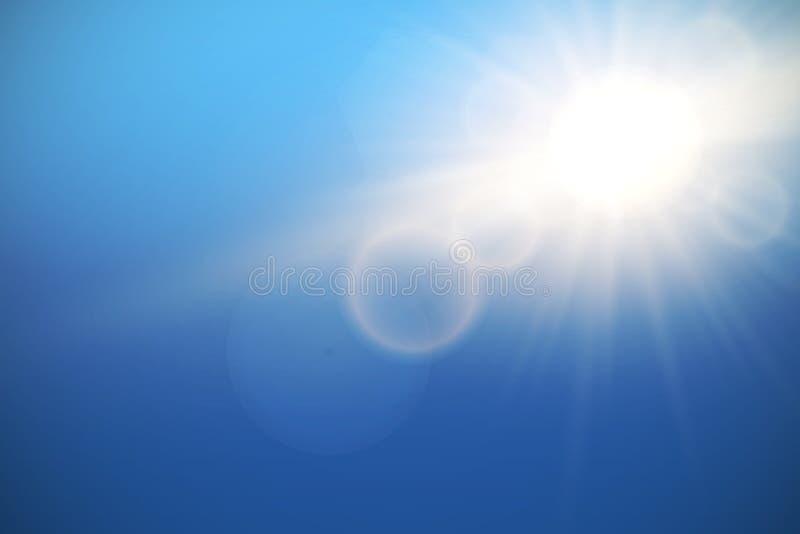 Sun with lens flare on blue sky, vector. stock illustration