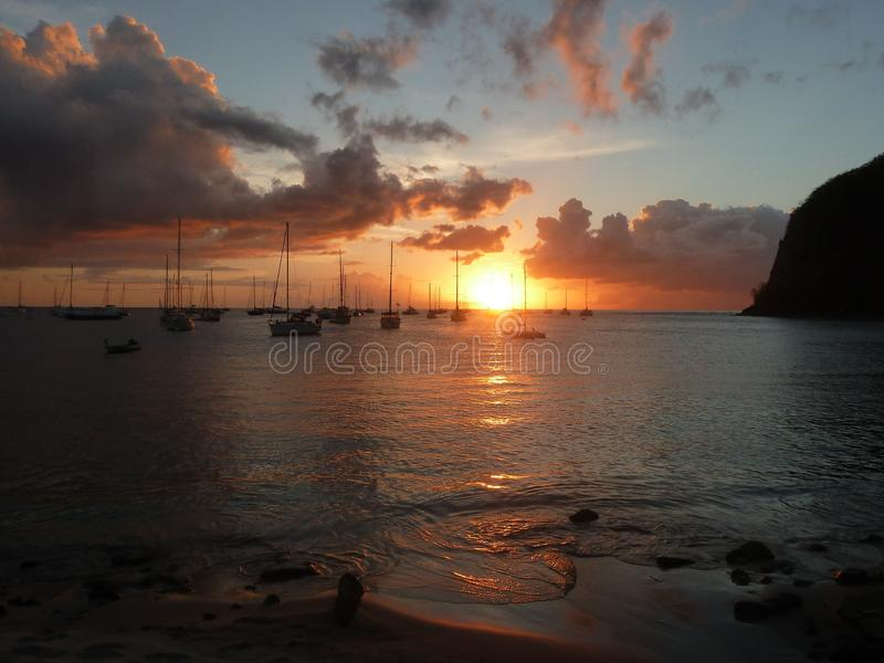 Sunset over Deshaies Bay royalty free stock photography