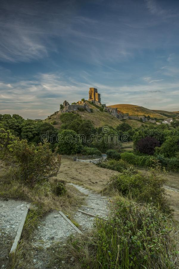 Sun light on Corfe Castle stock images