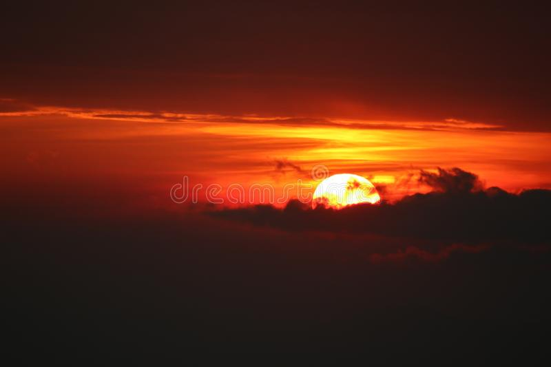 sun light is going down in the night royalty free stock image