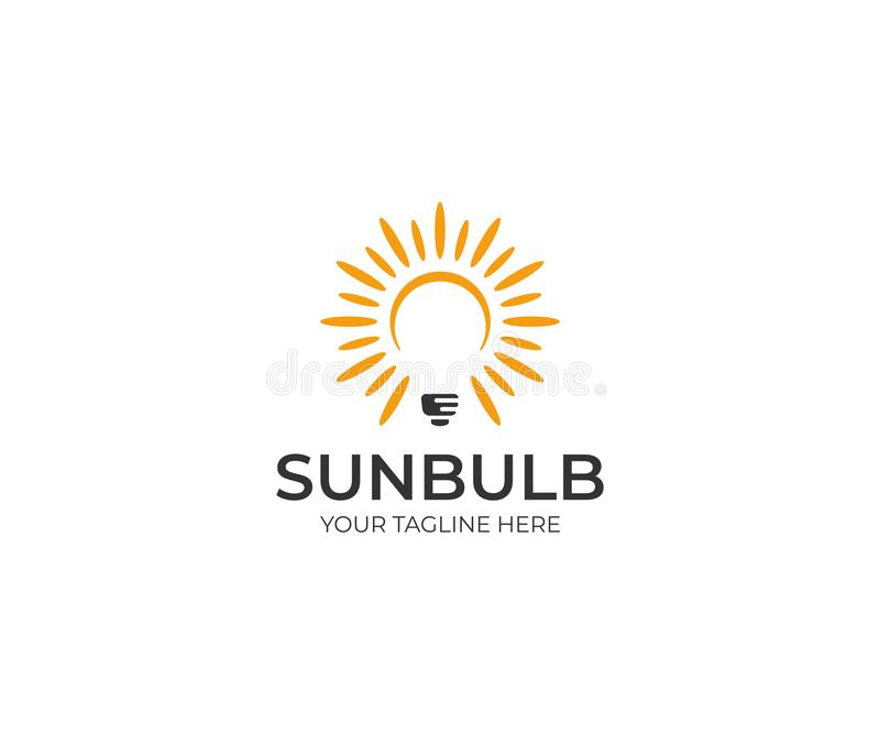 Sun and Lightbulb Logo Template. LED Vector Design royalty free illustration