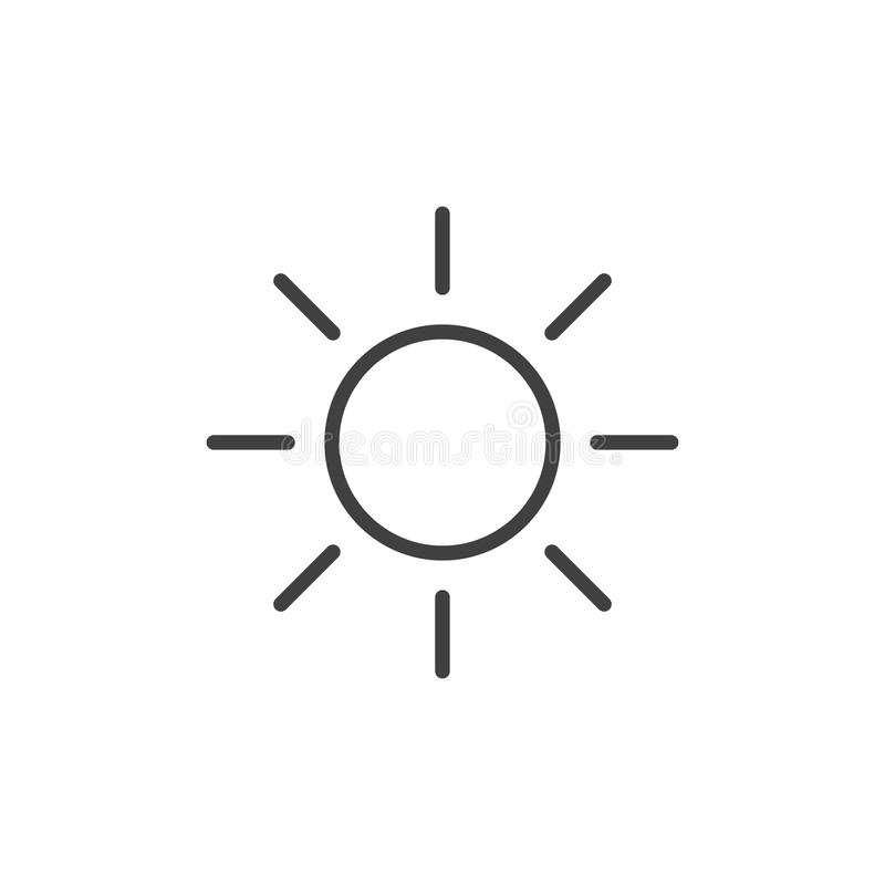 Sun line icon. Outline vector sign, linear style pictogram isolated on white. Symbol, logo illustration. Editable stroke stock illustration