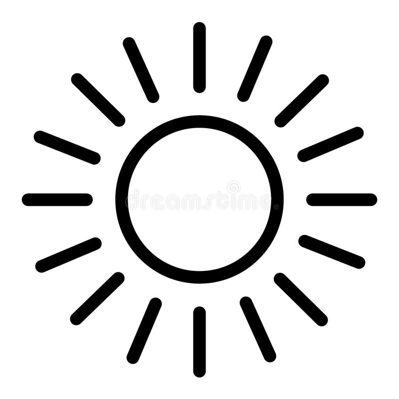 Sun line icon. Shining sun vector illustration isolated on white. Sun and rays outline style design, designed for web stock illustration