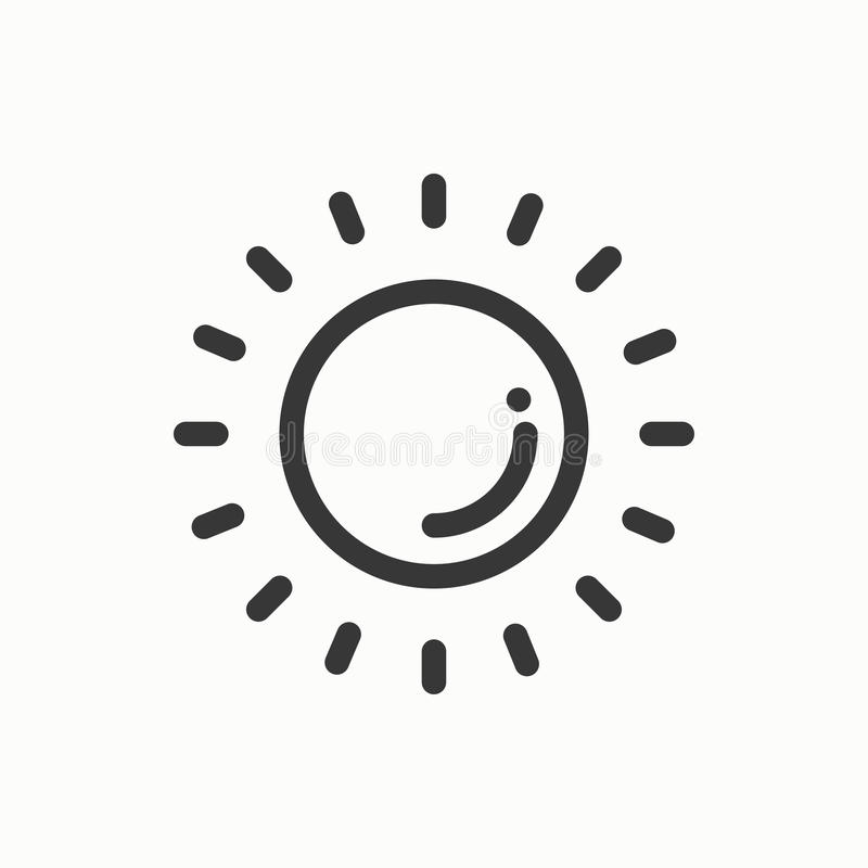Sun line simple icon. Weather symbols. Meteorology. Forecast design element. Template for mobile app, web and widgets royalty free illustration