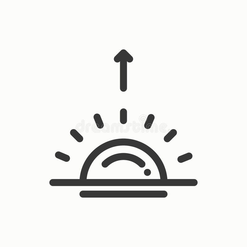 Sun line simple icon. Weather symbols. Sunrise, sunset. Forecast design element. Template for mobile app, web and royalty free illustration