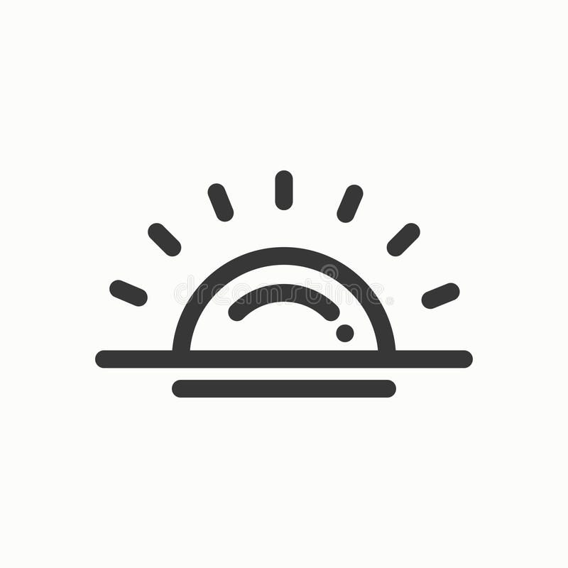 Sun line simple icon. Weather symbols. Sunrise, sunset. Forecast design element. Template for mobile app, web and. Widgets.Vector style linear icon royalty free illustration