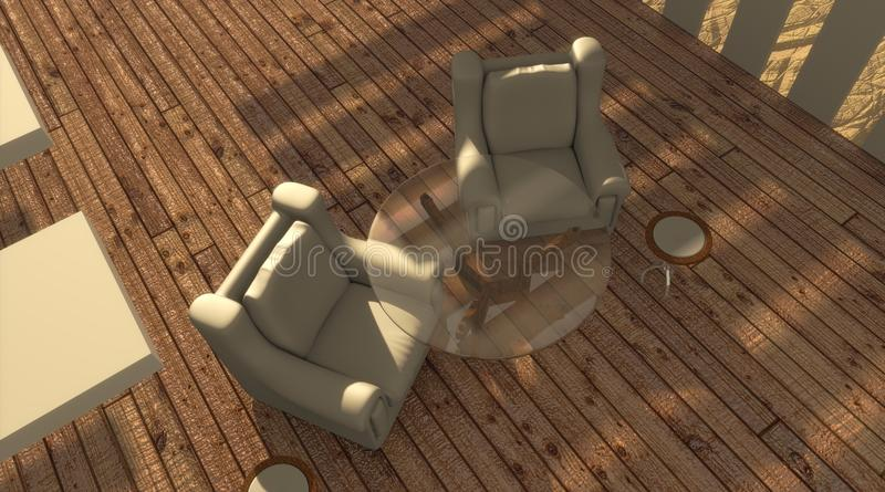 Download Sun Lit Patio Above View stock illustration. Illustration of round - 17299625