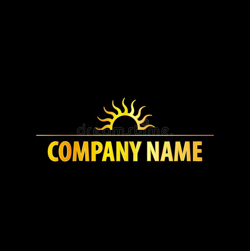 Sun Logo With Golden Effect ilustração stock