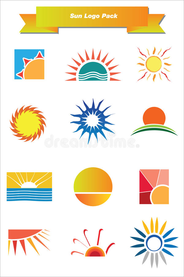 Free Sun Logo Pack Royalty Free Stock Images - 25094649
